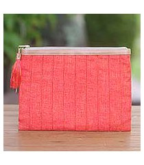 leather accent cotton clutch, 'tangerine evening' (indonesia)