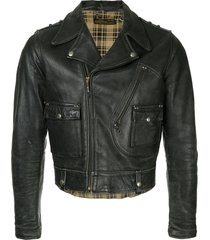 fake alpha vintage 1940s harley davidson motorcycle jacket - black
