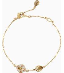 braccialetto graceful bloom, marrone, placcato oro
