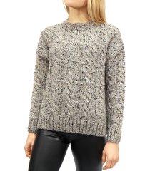rd style women's mockneck long sleeve sweater - hazel wood - size l