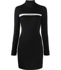 calvin klein jeans logo stripe fitted mini dress - black