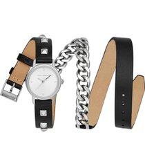 rebecca minkoff women's bffl stainless steel chain & black leather triple wrap strap watch 25mm