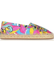 emilio pucci designer shoes, multicolor printed canvas espadrilles