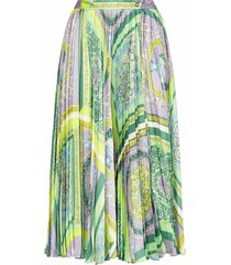 versace barocco print pleated midi skirt