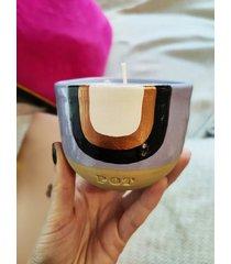 świeca ręcznie malowana w kubeczku brzoskwinia