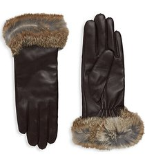 dyed rabbit fur-trim leather gloves