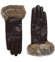dyed rabbit fur-trim leather gloves