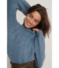 trendyol stickad tröja med detaljer - blue