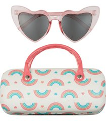 capelli new york kids' heart sunglasses and rainbows case set in pink combo at nordstrom