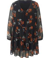 tuniek met lange mouwen en bloemenprint van via appia due zwart