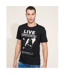 "camiseta masculina  live in concert"" manga curta gola careca preta"""
