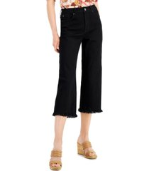 inc high rise frayed hem cropped wide leg jeans, created for macy's