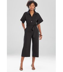 natori stretch cotton blend crop jumpsuit, women's, size m