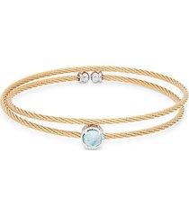 alor women's 14k white & rose gold, stainless steel & blue topaz bracelet