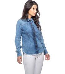 camisete jeans dialogo com pence e bolso