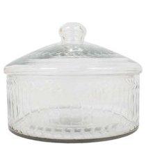 vaso c/ tampa- pashmina- vidro- transparente