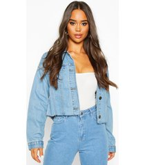 cropped jean jacket, mid blue