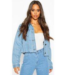 cropped jean jacket, mid blue