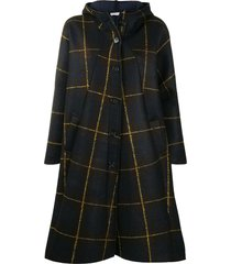 stefano mortari check-print oversized cape coat - brown