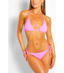 geribde driehoekige bikini met strik, roze