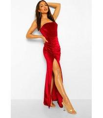 geplooide maxi jurk met fluwelen korset, wine