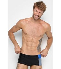 sunga boxer lupo beach recorte com bolso lisa - masculino
