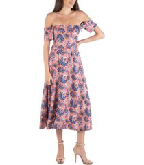 24seven comfort apparel off shoulder botanical print midi dress with side slit