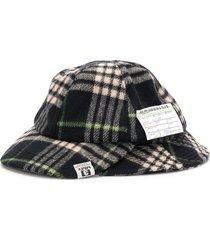 miharayasuhiro modified plaid check hat - blue