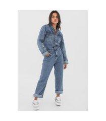 macacão jeans forum reta bolsos azul
