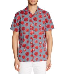 tallia men's slim fit performance stretch rose check print camp shirt