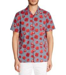 tallia men's slim-fit performance stretch rose check print short sleeve camp shirt