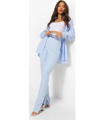 geweven gingham long line broek met split, blue