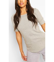 3/4 sleeve curved hem t-shirt, grey marl