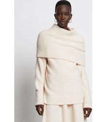 proenza schouler fold over textured knit sweater 00103 cream/white m