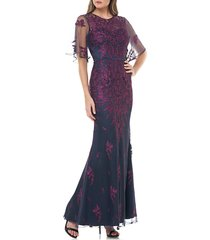 women's js collections floral embroidered evening dress, size 2 - purple