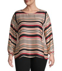 vince camuto women's plus striped long-sleeve top - apricot cream - size 2x (18-20)