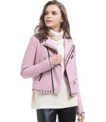 chaqueta ecocuero tachas rosa nicopoly