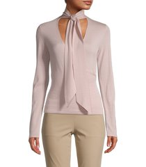 theory women's tie-neck wool top - pink - size xs