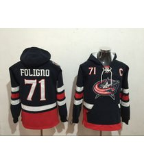 men's columbus blue jackets 71 foligno hockey pullover hoodie jersey