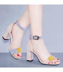 sandalias de tiras de tobillo casuales con punta abierta para