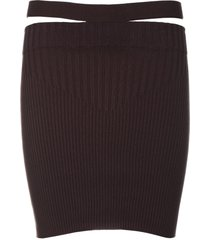 andrea adamo ribbed knit mini skirt high waist