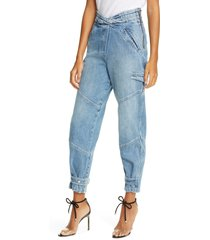 women's rta dallas baggy belted cargo jeans, size small - blue
