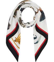 burberry monkey print silk square scarf - white