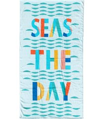martha stewart collection seas the day velour beach towel, created for macy's bedding