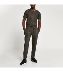 river island mens maison riviera brown textured slim fit outfit