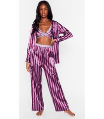 womens stay stripe there 3-pc oversized pajama set - berry