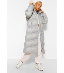 gewatteerde jas met diamand vormige stiksels en faux fur zoom