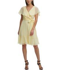 dkny flounce-sleeve belted dress