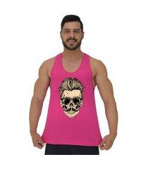 regata cavada masculina alto conceito caveira skull bigode cabelo arrepiado rosa choque