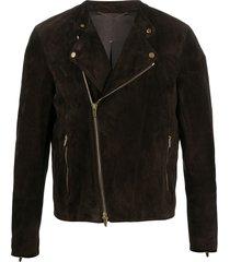 ajmone fitted biker jacket - brown